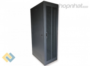 Tủ rack 42U D1000 2 cửa lưới màu đen