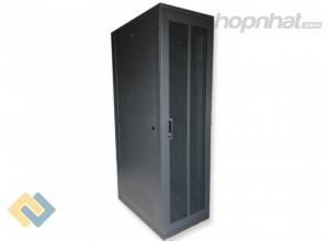 Tủ rack 42U D600 2 cửa lưới màu đen